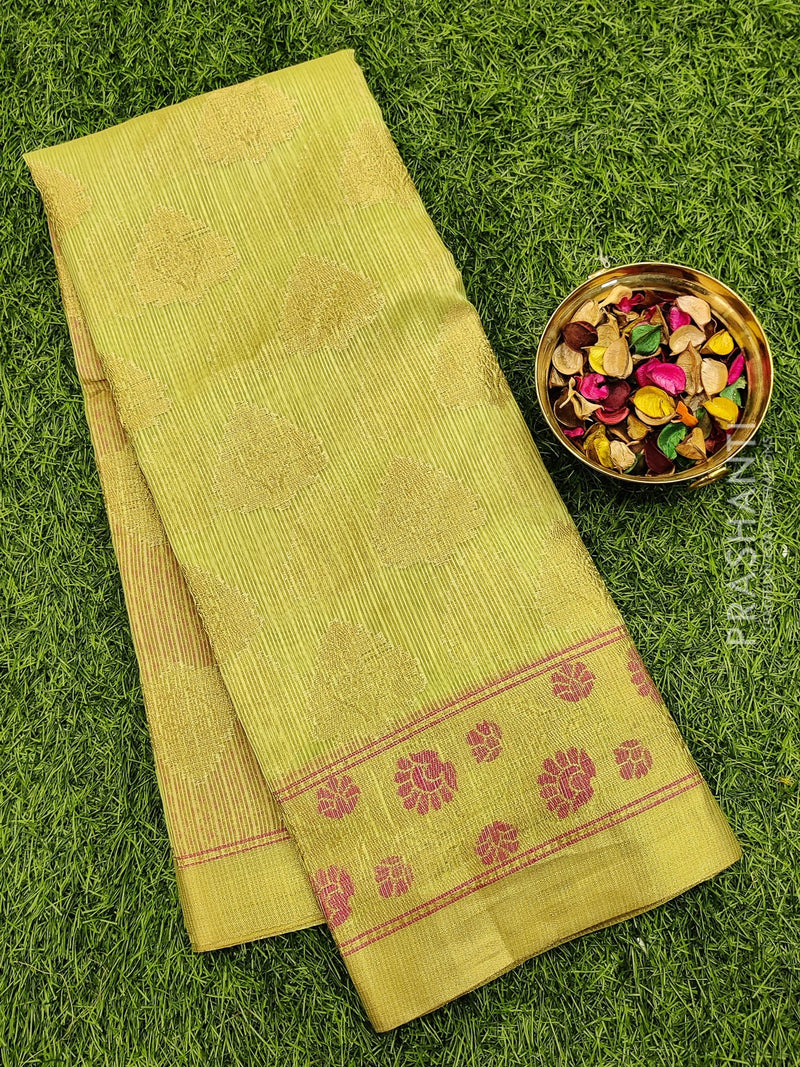 Manipuri Kota saree green with rich zari border