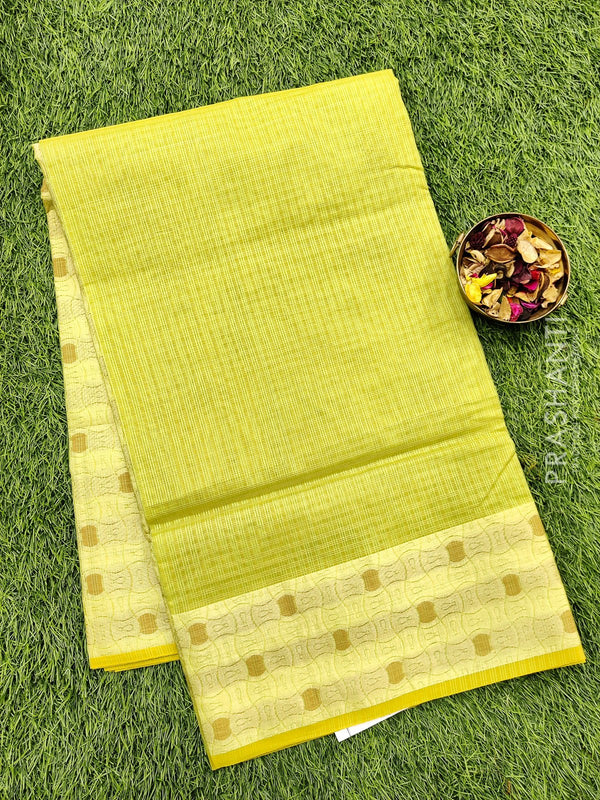 Manipuri Kota saree green and beige with thread woven border