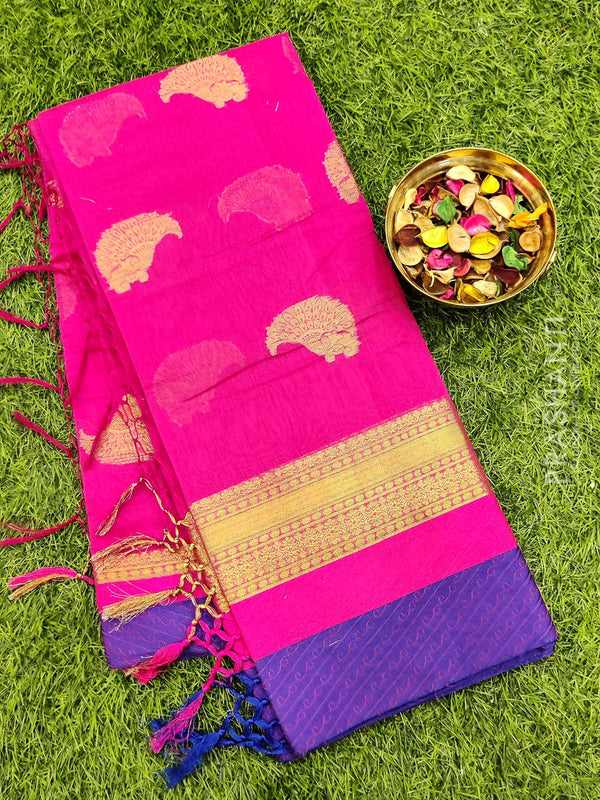 Manipuri Kota saree pink and violet with woven buttas and border