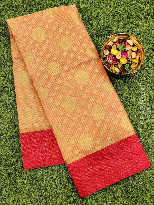Manipuri Kota saree peach and red with allover zari weaves and thread woven border