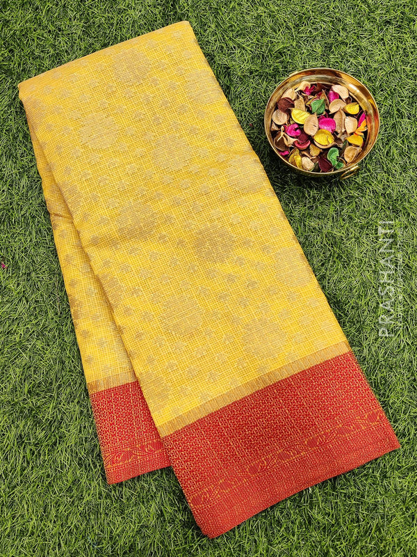 Manipuri Kota saree yellow and red with allover zari weaves and thread woven border