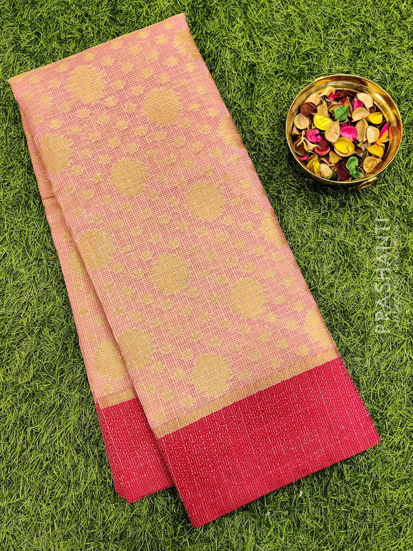 Manipuri Kota saree baby pink and pink with allover zari weaves and thread woven border