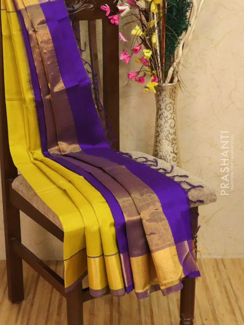 Silk cotton saree floresent green and violet with kaddi zari woven border for Rs.Rs. 2890.00 | Silk Cotton Sarees by Prashanti Sarees