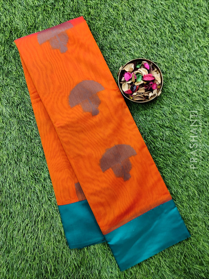 South kota saree orange and green with simple border and body buttas