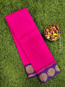 South kota saree pink and blue with simple border and self emboss pattern