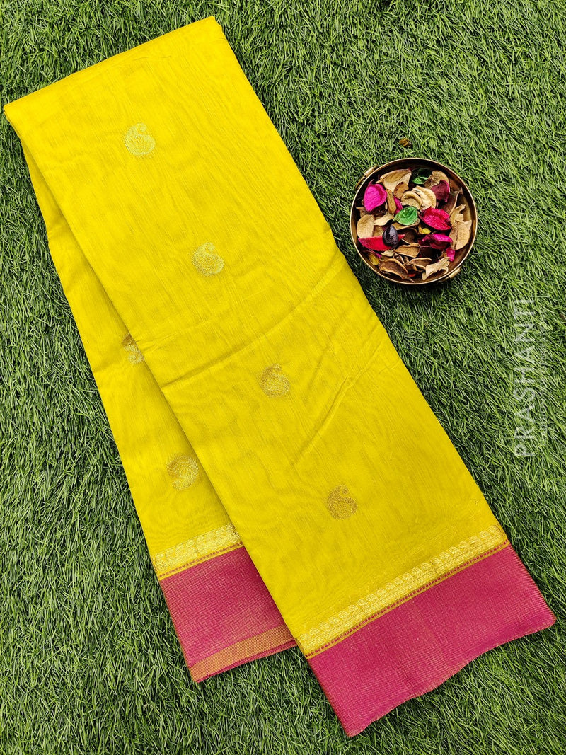 South kota saree lime yellow and pink with simple border and body buttas