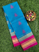 South kota saree nlue and pink with zari border and temple buttas