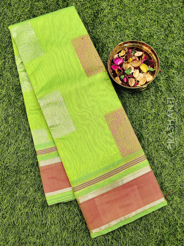 South kota saree lime green and pink with zari border and thread buttas