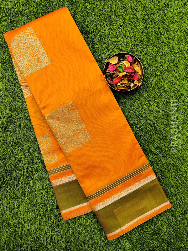 South kota saree yellow orange and green with zari border and thread buttas