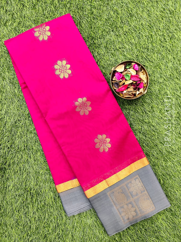 South kota saree pink and grey with butta style border and body buttas