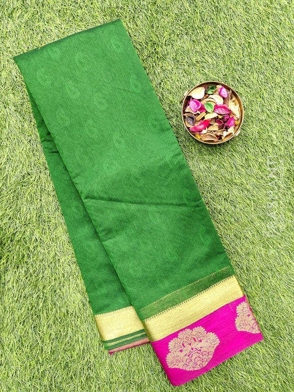 South kota saree green and pink with butta style border and body emboss