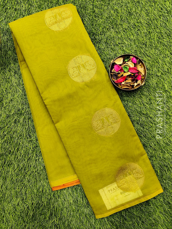 South kota saree light green body buttas in borderless style