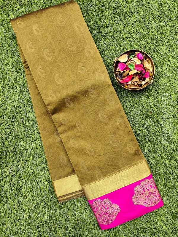 South kota saree khaki green and pink with emboss and zari border