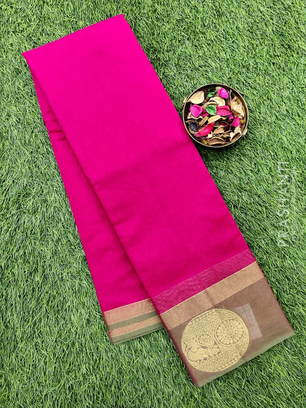 South kota saree pink and dual shade of green with emboss and zari border