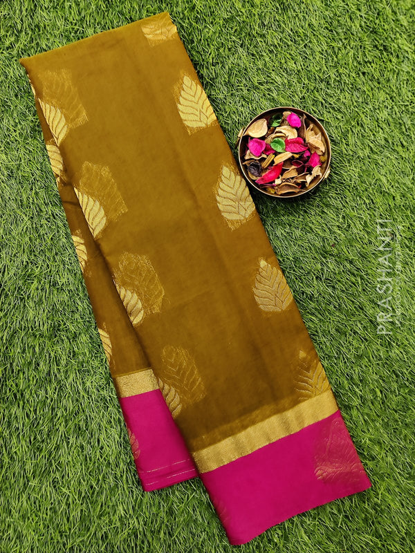 South kota saree mehandi green and pink with zari border and body buttas