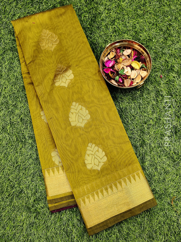 South kota saree mehandi green body buttas in temple style border