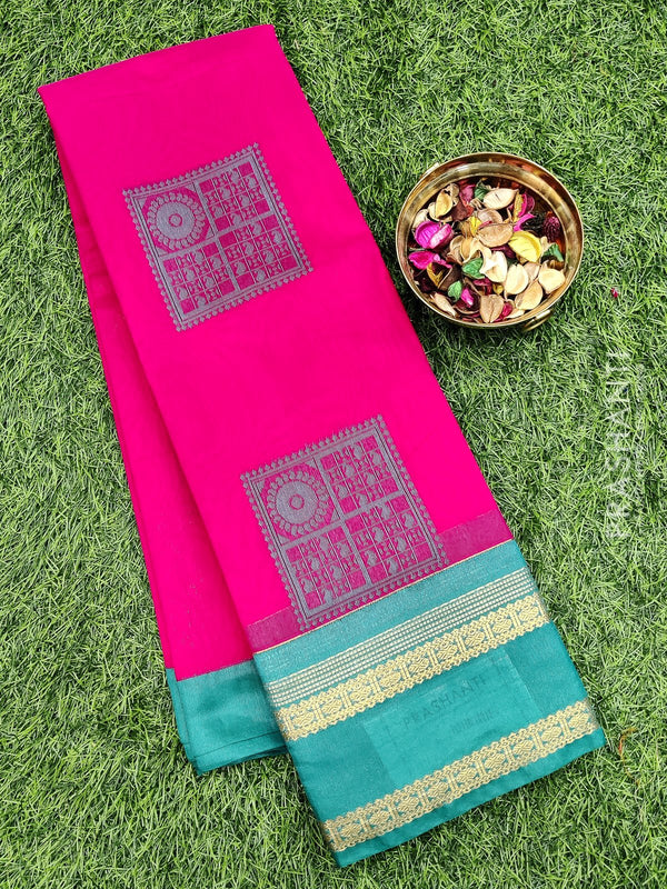 South kota saree pink and green with zari border and body buttas