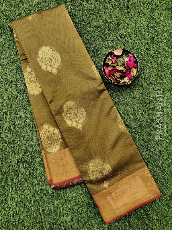 South kota saree green with kaddi zari border and body buttas