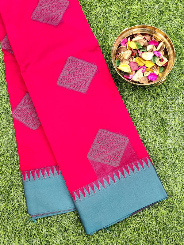 South kota saree magenta and teal with thread buttas and thread pallu
