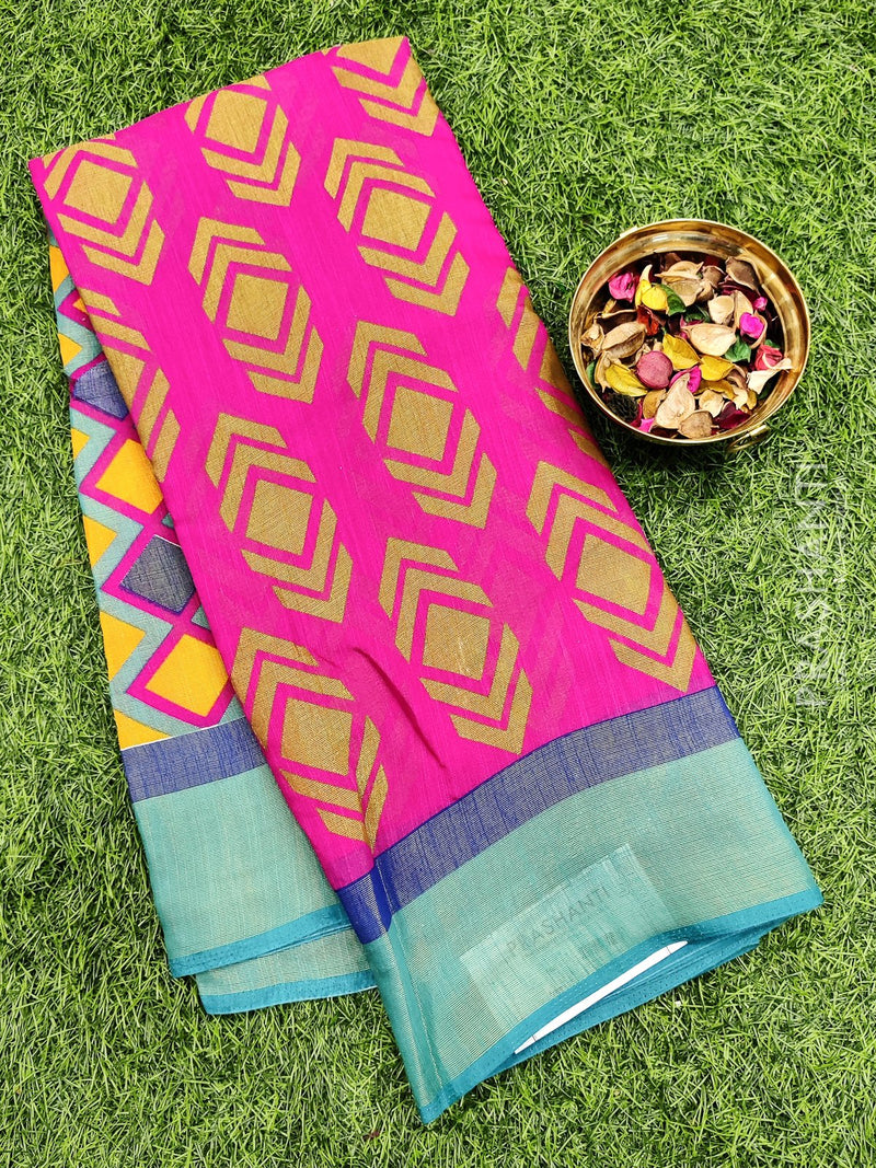 Brasso Saree pink and blue with geometric weaves for Rs.Rs. 950.00 | Brasso by Prashanti Sarees