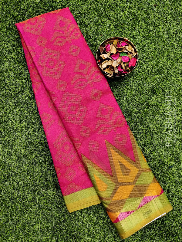 Brasso Saree pink and green with all over weaves and rich zari border