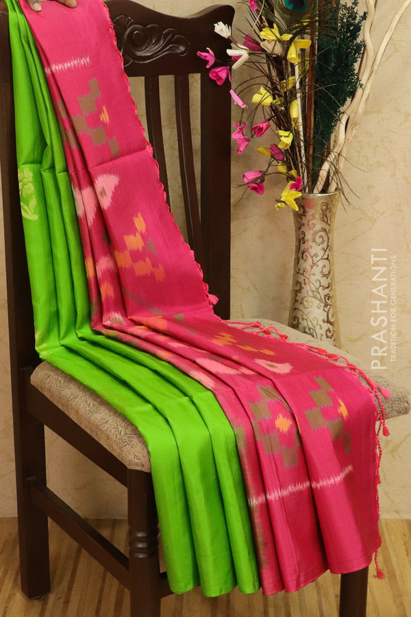 Ikkat soft silk saree green and pink with floral buttas in borderless style with ikkat pallu