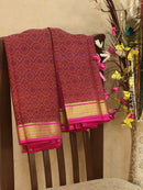 Pure Mysore Crepe silk saree rust and pink with allover prints and golden zari border