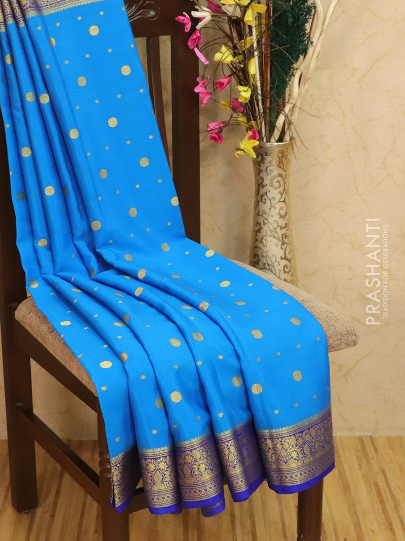 Pure Mysore Crepe silk saree blue with zari woven buttas and rich border