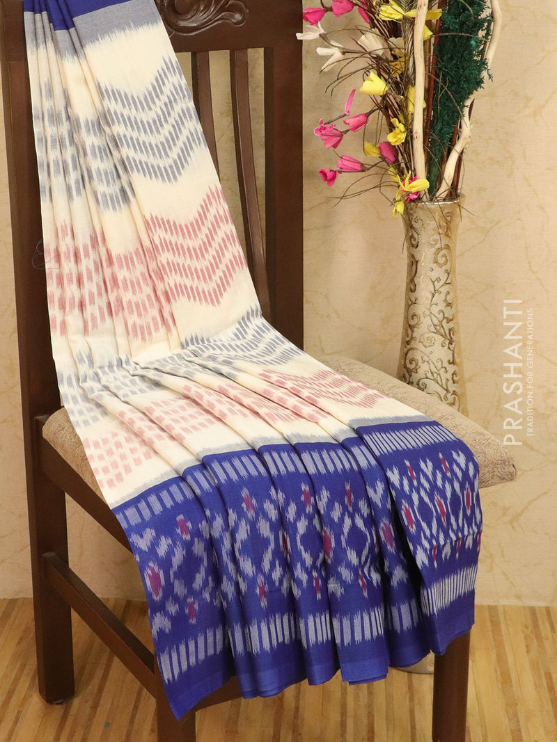 Ikat Cotton Saree off white and blue with ikat woven border