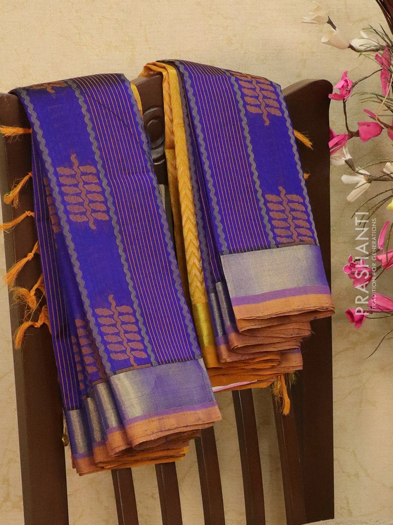 Light weight silk cotton saree blue and mustard with thread woven pattern and rich pallu