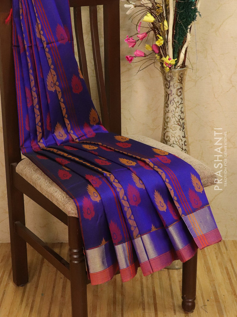 Light weight silk cotton saree blue and red with thread woven pattern and rich pallu