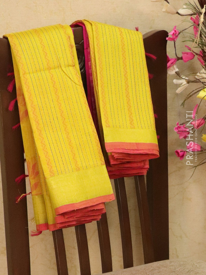 Light weight silk cotton saree lime yellow and pink with thread woven pattern and rich pallu