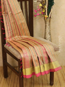 Light weight silk cotton saree beige and pink with thread woven pattern and rich pallu