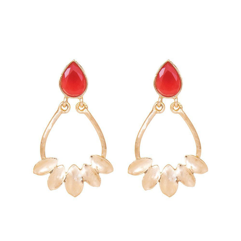 Red Stone Gold Plated Dangler Earrings