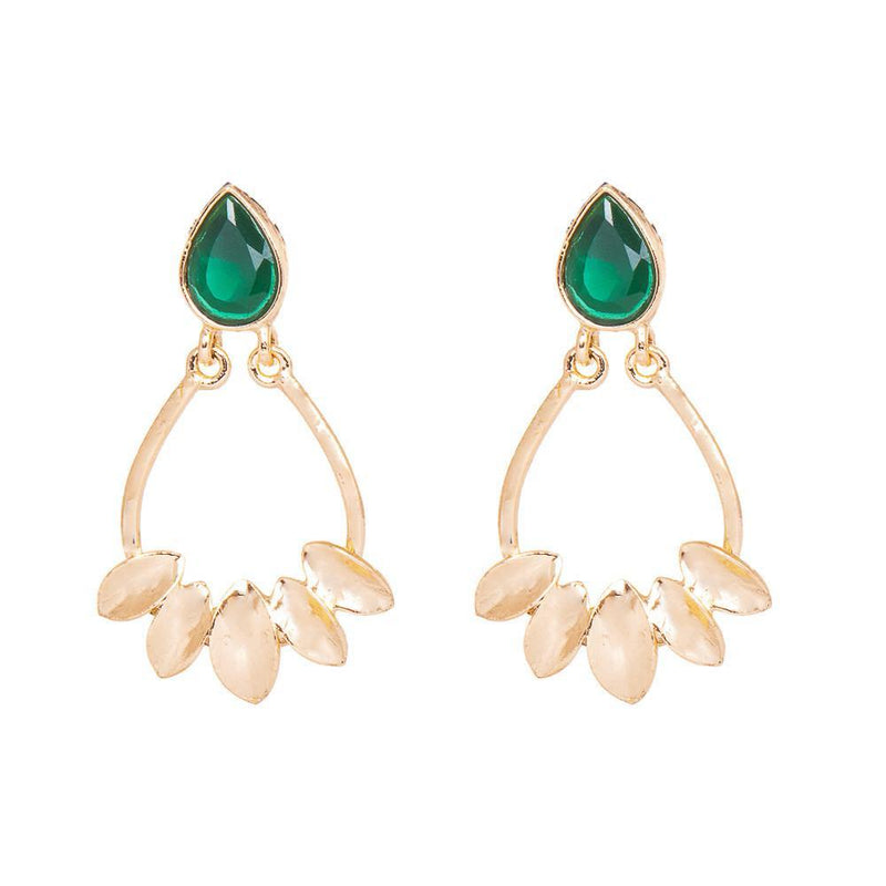 Gold Plated Green Stone Dangler Earrings