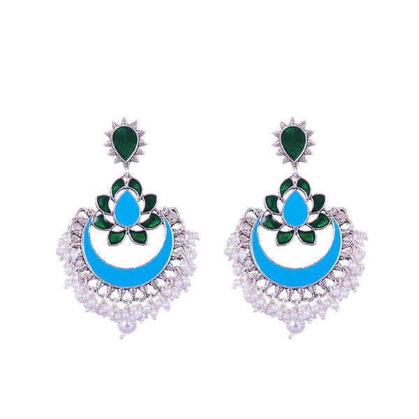 Multicolour Chandbali Silver Earrings