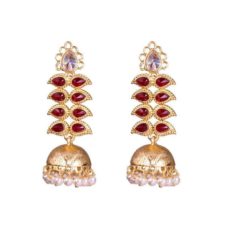 Red Elegant Stones Detailed Earrings