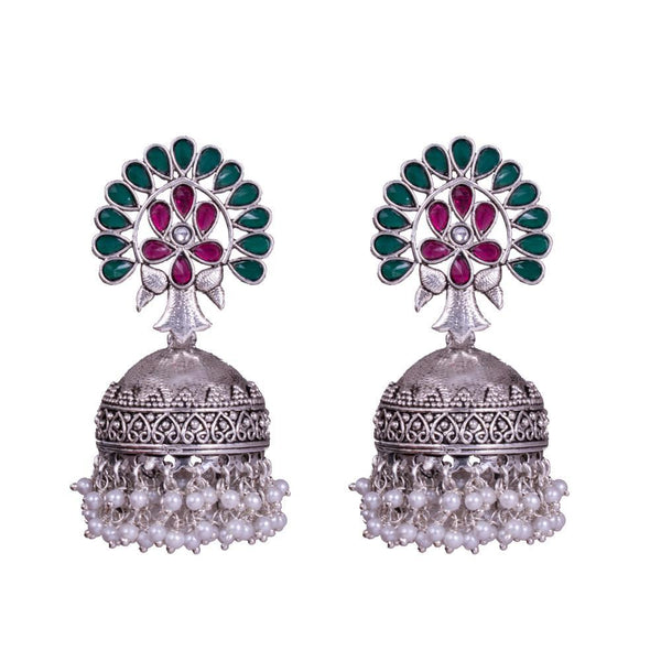 Textured Pink And Green Oxidized Jhumkas