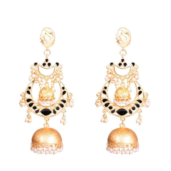 Black Enamel Matte Gold Polish Jhumkas