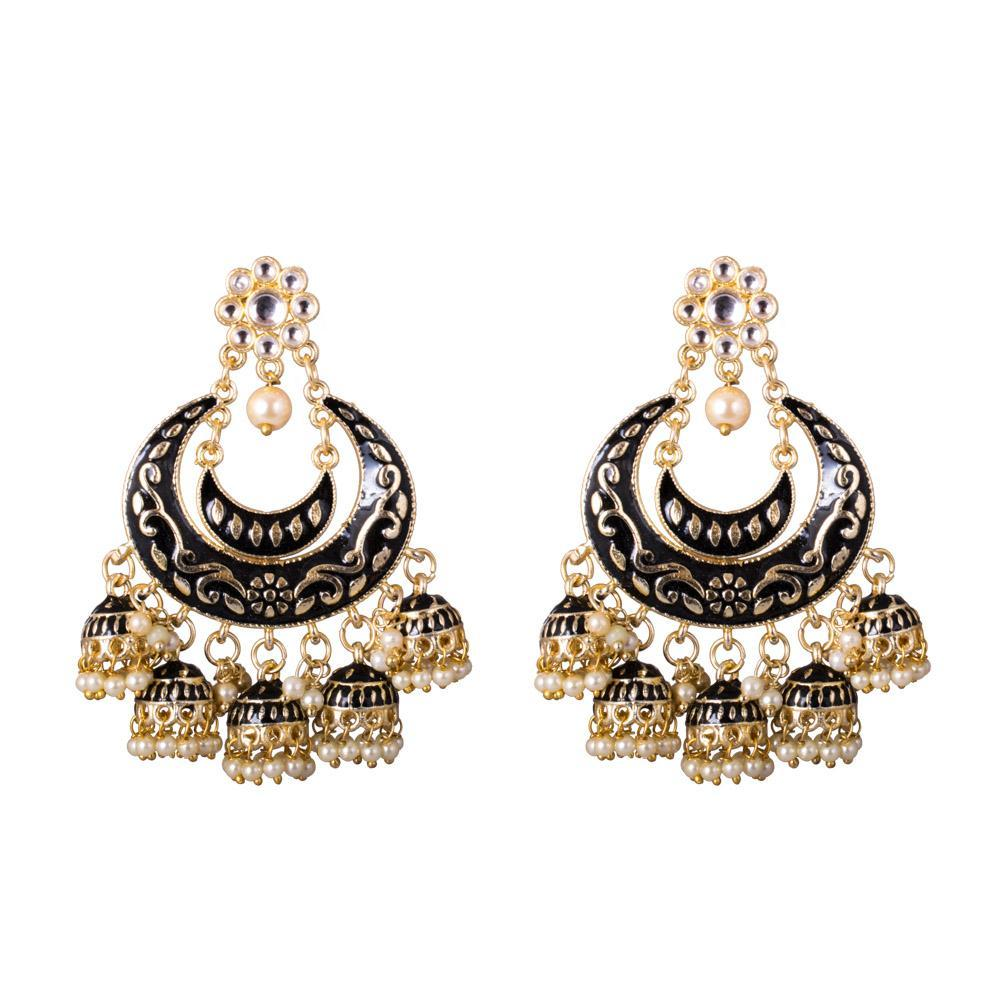 Blac and gold jhumkas