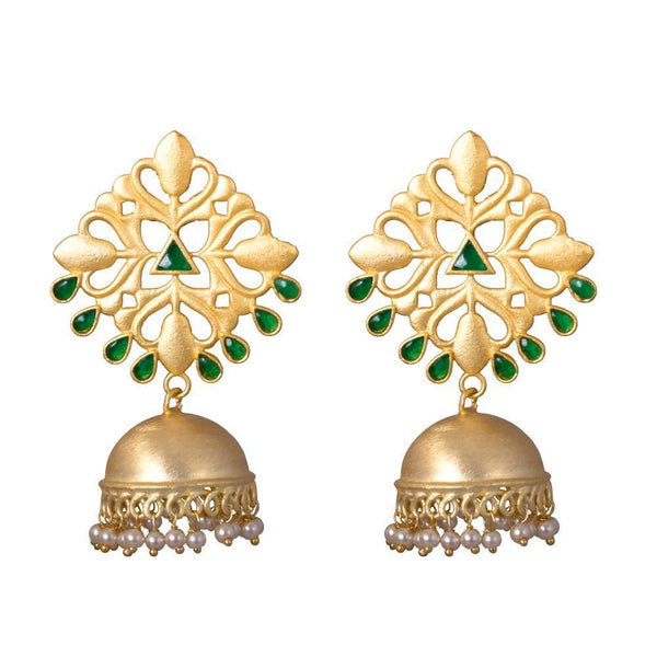 Matte Finish Traditional Green Stone Jhumkas