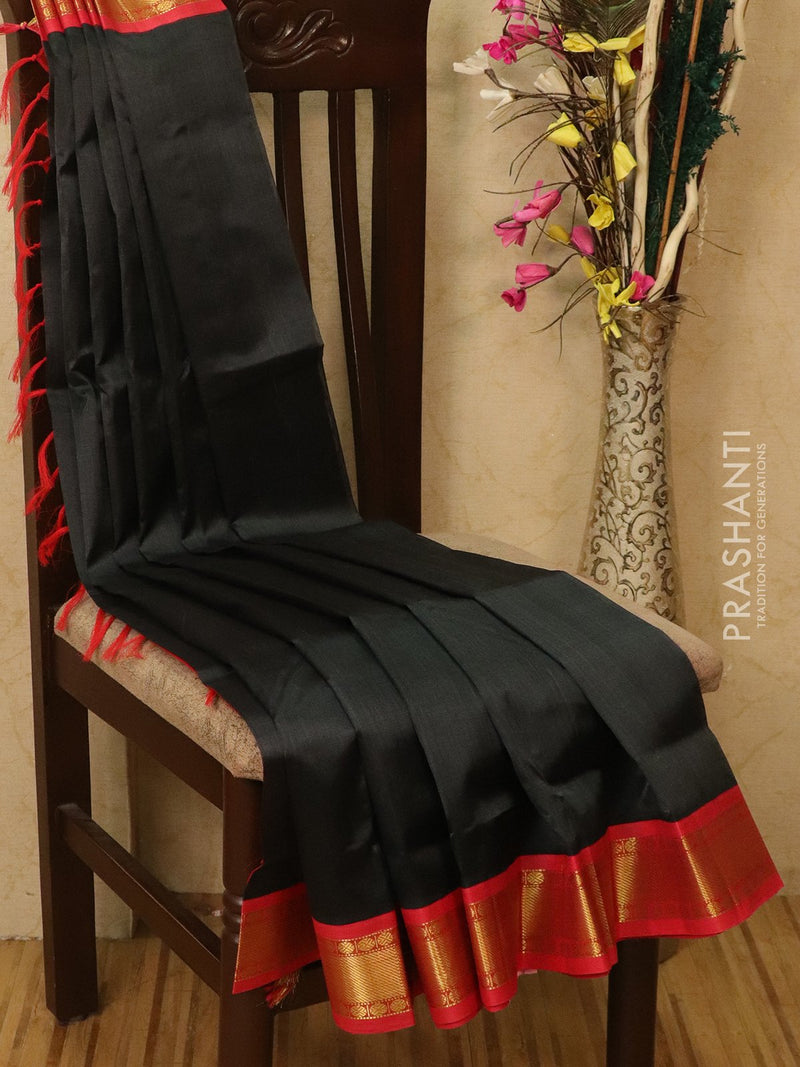 Silk Cotton saree deep greyish green and red with rich korvai zari border