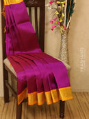 Silk Cotton saree magenta and mustard with rich korvai zari border