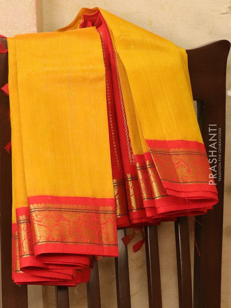 Silk Cotton saree mustard and red with rich korvai zari border