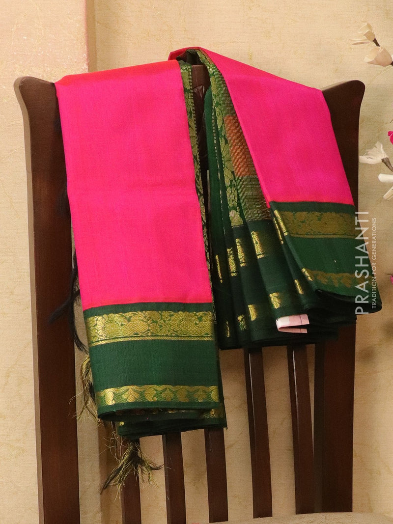 Silk Cotton saree magenta pink and bottle green with rich korvai zari border