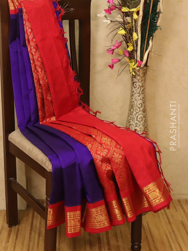 Silk Cotton saree royal blue and red with rich korvai zari border