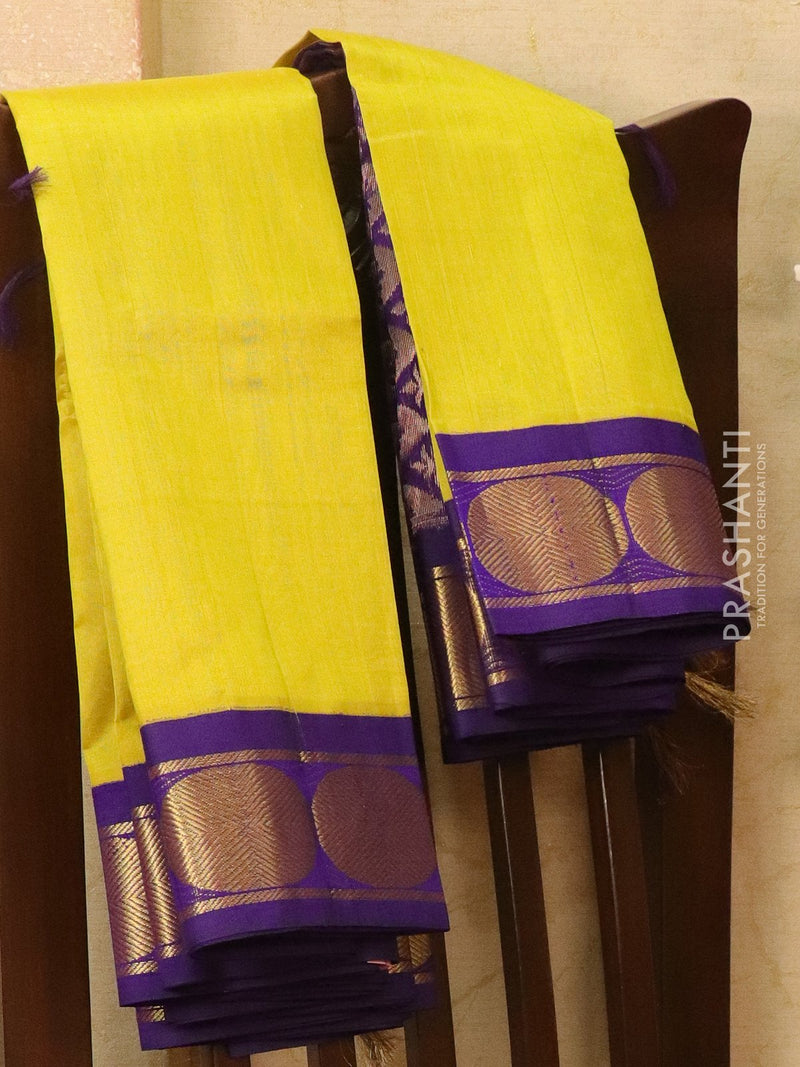 Silk Cotton saree lime yellow and blue with rich korvai zari border