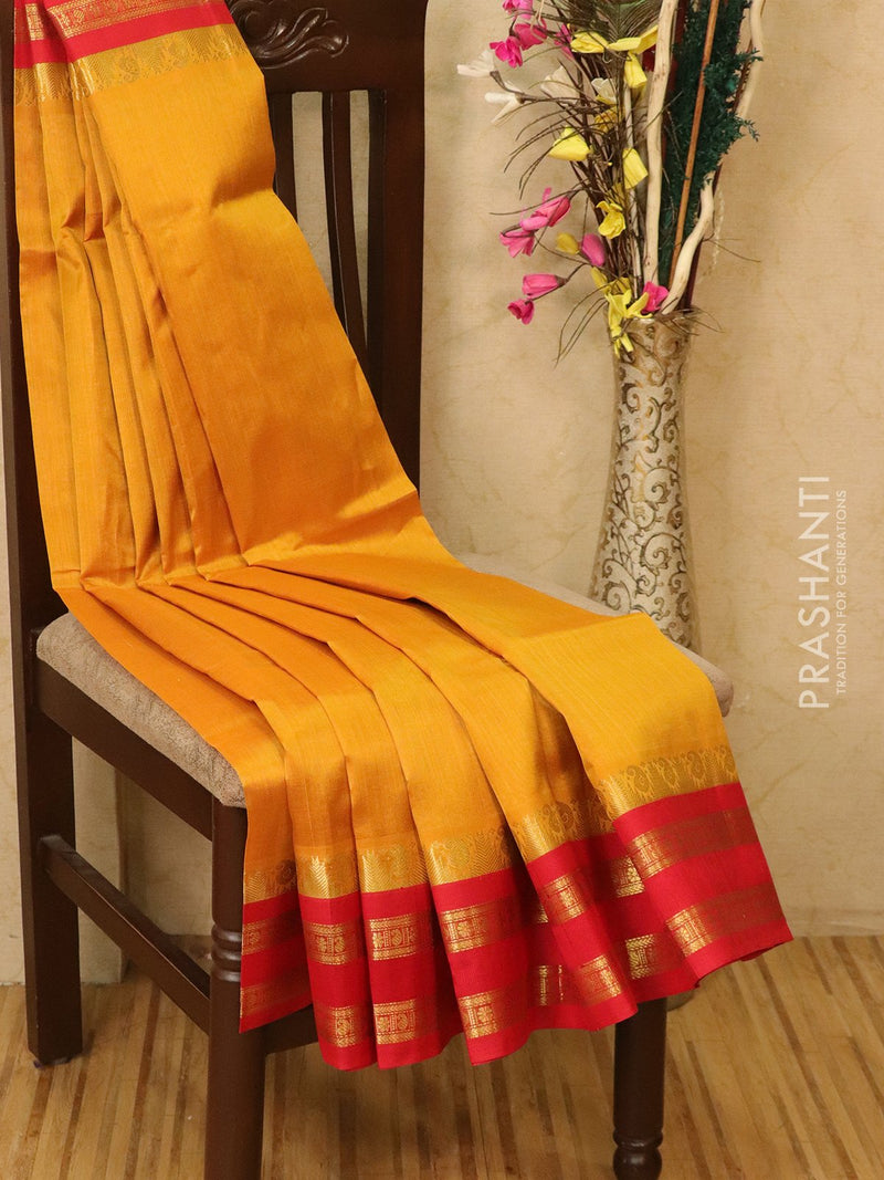Silk Cotton saree yellow and red with rich korvai zari border