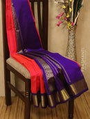 Silk Cotton saree tomato pink and violet with rich korvai zari border