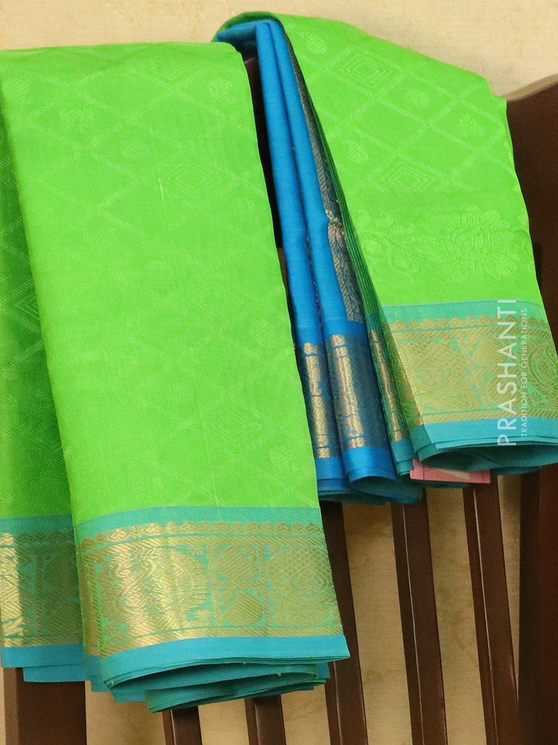Silk Cotton saree green and blue with allover self emboss Jacquard and rich korvai border